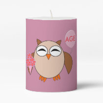 Custom Age Birthday Owl Pillar Candle