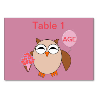 Custom Age Birthday Owl Tablecard Card