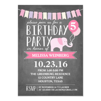 Custom Age Elephant Birthday Party | Birthday 5x7 Paper Invitation Card