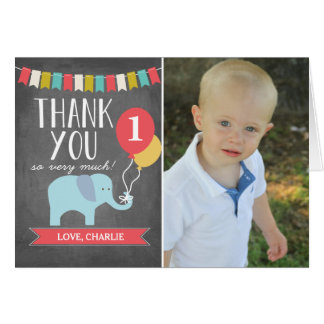 Thank You Note Cards - Custom Age Elephant | Birthday Thank You Card
