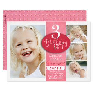 Custom Age Specific Birthday Party Invitation Girl