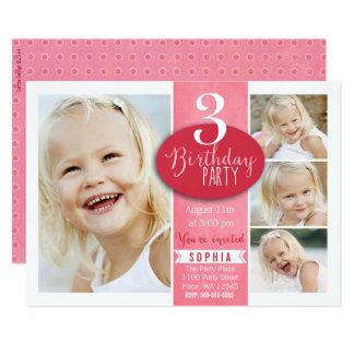 Custom Age Specific Birthday Party Invitation Girl