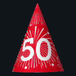 "Custom age surprise Birthday party paper cone hats<br><div class=""desc"">Custom age fun Happy Birthday celebration paper party cone hats for adults and children. Personalized printable party hats with elastic string. Awesome party supplies with your own age number, name, monogram or funny quote. Custom solid color background ie. red. Cute accessories for surprising gags and pranks. Suitable for men women...</div>"