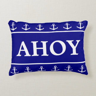 Custom Ahoy | Navy Blue and White with Anchors Accent Pillow