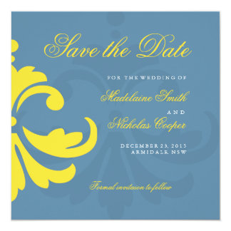 Custom air force and white damask save the date 5.25x5.25 square paper invitation card