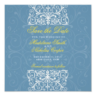 Custom air force and white vintage save the date 5.25x5.25 square paper invitation card