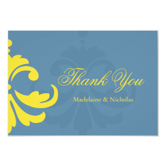 Custom air force blue and white damask thank you 3.5x5 paper invitation card