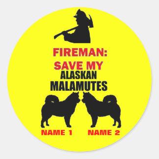 Custom Alaskan Malamute Fire Safety Classic Round Sticker