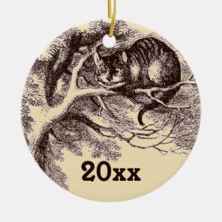 Custom Alice in Wonderland Cheshire Cat Grin Ceramic Ornament