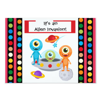 Custom Alien Invastion 5x7 Birthday Invitation