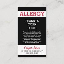 Custom Allergy Alert Restaurant Emergency Kids Calling Card
