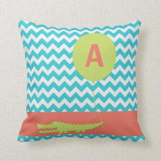 Custom Alligator Balloon Chevron Throw Pillows