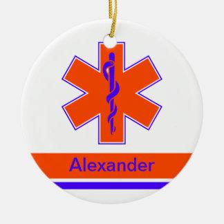 Custom Ambulance Orange and Blue Star of Life Ceramic Ornament