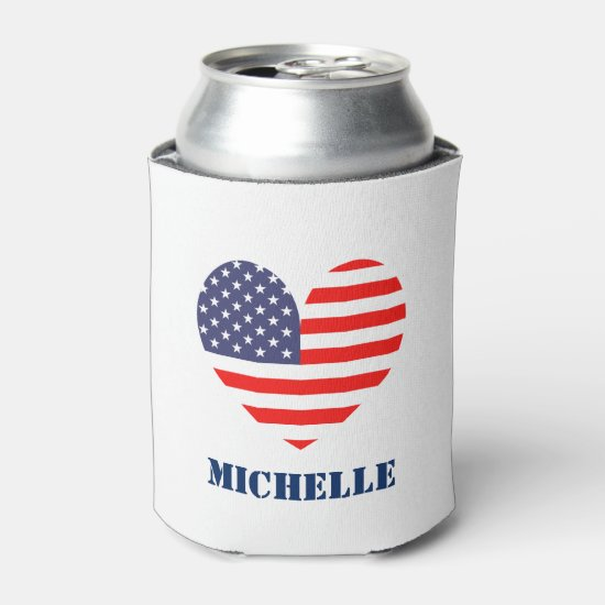 Custom American flag 4th of July party can coolers Can Cooler