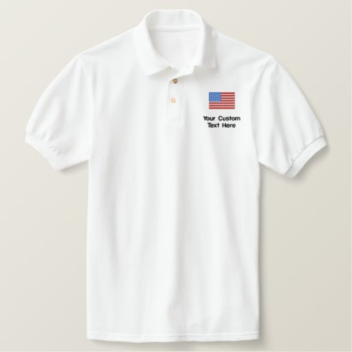 Custom American Flag Embroidered Golf Shirt