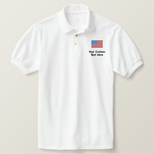 fba056b2 Custom American Flag Embroidered Golf Shirt | Zazzle.com
