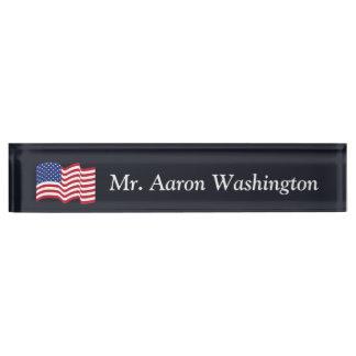 Custom American Flag Office Desk Nameplate Gift