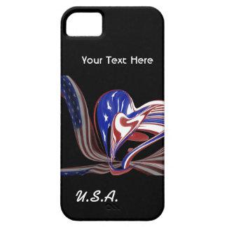 Custom American Heart Flag & Black Background iPhone SE/5/5s Case