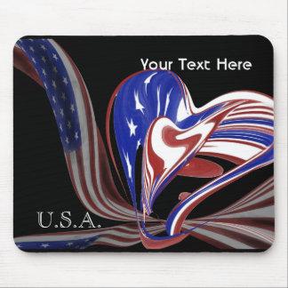 Custom American Heart Flag & Black Background Mouse Pad