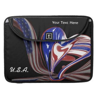 Custom American Heart Flag & Black Background Sleeve For MacBooks