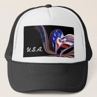 Custom American Heart Flag & Black Background Trucker Hat