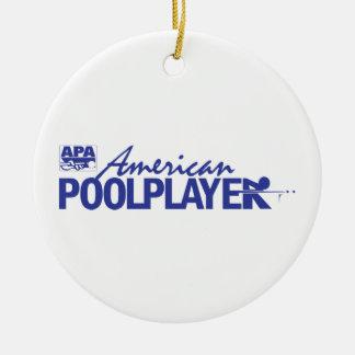 Custom American Pool Player - Blue Ceramic Ornament