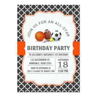 Custom an all-star quatrefoil sport birthday party card