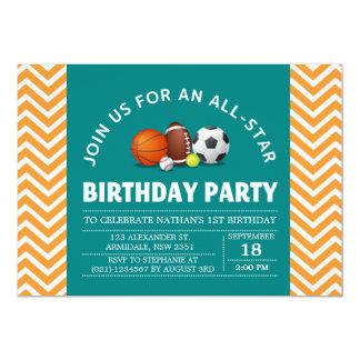 Custom an all-star sport birthday party 5x7 paper invitation card