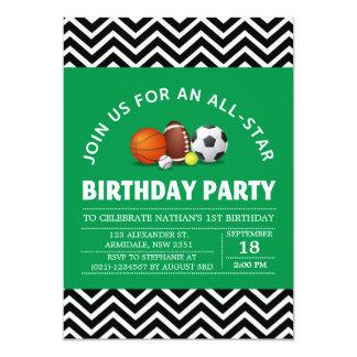 Custom an all-star sport birthday party card