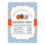 Custom an all-star sport birthday party personalized announcement