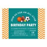 Custom an all-star sport birthday party announcement