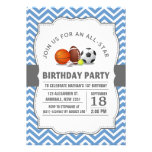 Custom an all-star sport birthday party personalized invitation