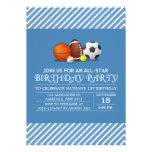 Custom an all-star sport birthday party invite
