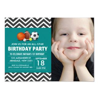 Custom an all-star sport birthday party photo card
