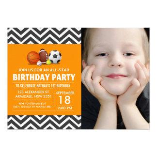 Custom an all-star sport birthday party photo invites