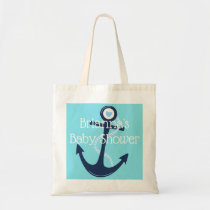 Custom Anchor Nautical Teal Navy Baby Shower Gift Tote Bag