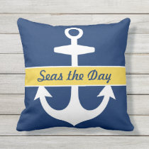 Custom Anchor | Navy Blue and Yellow Throw Pillow