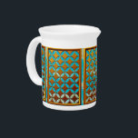 """Custom Ancient Art Pitcher<br><div class=""""desc"""">Custom Ancient Art Pitcher with digitally enhanced decorative pattern of original circle pattern panel design created by contemporary artist Ralph Jones inspired by ancient Celtic traditions. Click &quot;Customize it!&quot; to change the pattern color by changing the background color.</div>"""