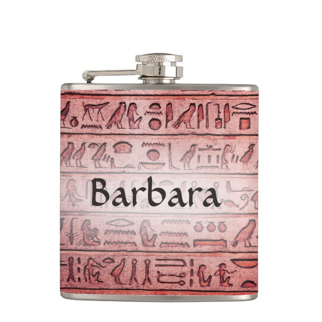 Custom Ancient Egyptian Hieroglyphs Red Flask