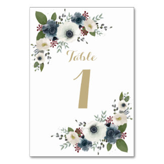 Custom Anemone Bouquet Table Number Card