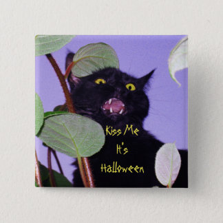 Custom Angry and grumpy Halloween black cat Button