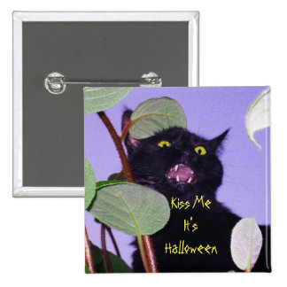 Custom Angry and grumpy Halloween black cat 2 Inch Square Button
