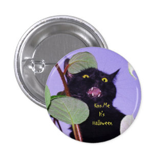 Custom Angry and grumpy Halloween black cat 1 Inch Round Button