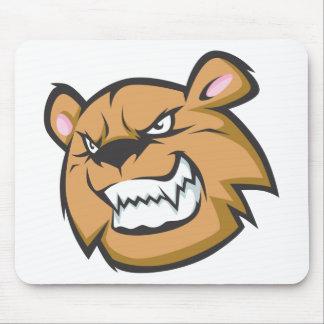 Custom Angry Bear Cartoon Logo Mouse Pad