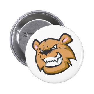 Custom Angry Bear Cartoon Logo Pinback Button