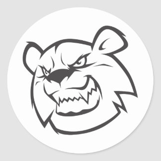 custom angry bear outline logo classic round sticker