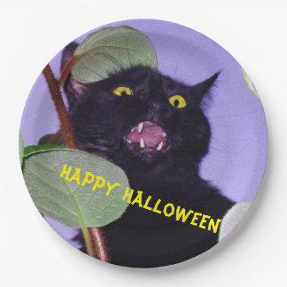 Custom Angry Halloween black cat Paper Plate