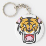 Custom Angry Tiger Cartoon Basic Round Button Keychain