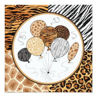 Custom Animal Pattern Birthday Balloon Invitations