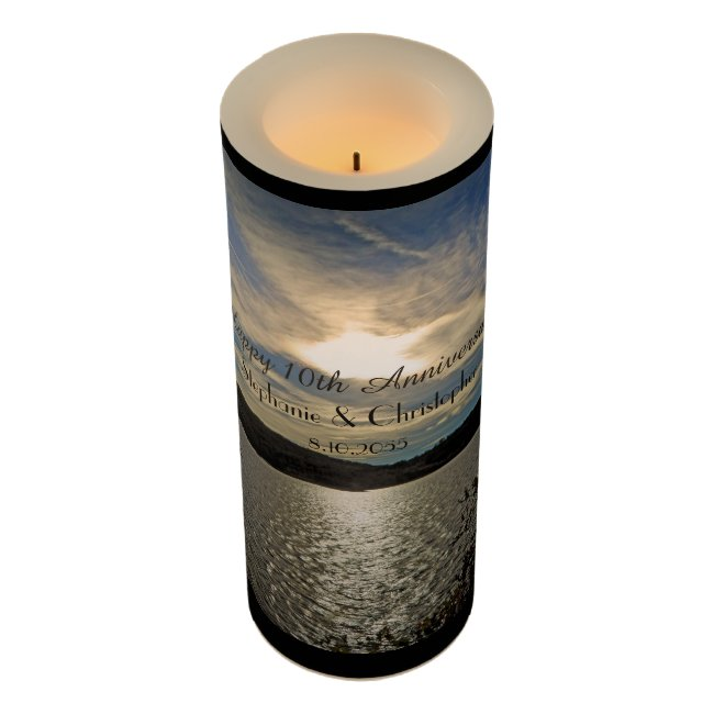 Custom Anniversary Flameless Candle Utah Sunset
